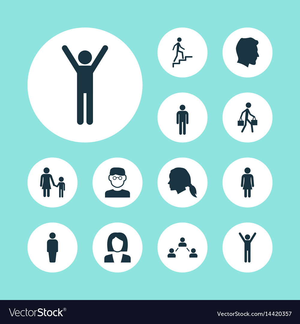 People icons set collection of male gentleman vector image