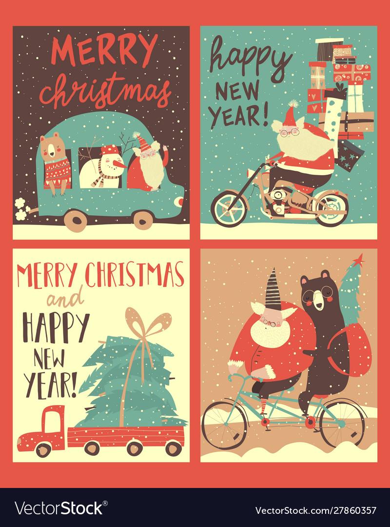 Set christmas cards with santa s transportation