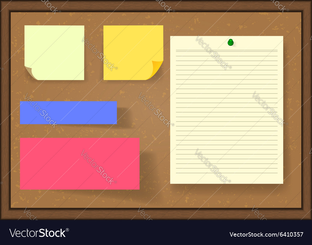 Set of post it notes on board