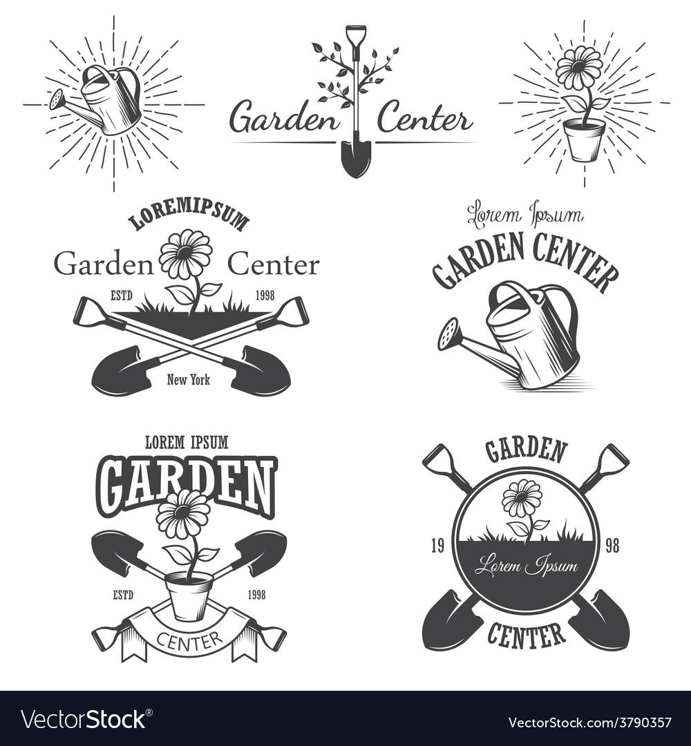 Set of vintage garden center emblems