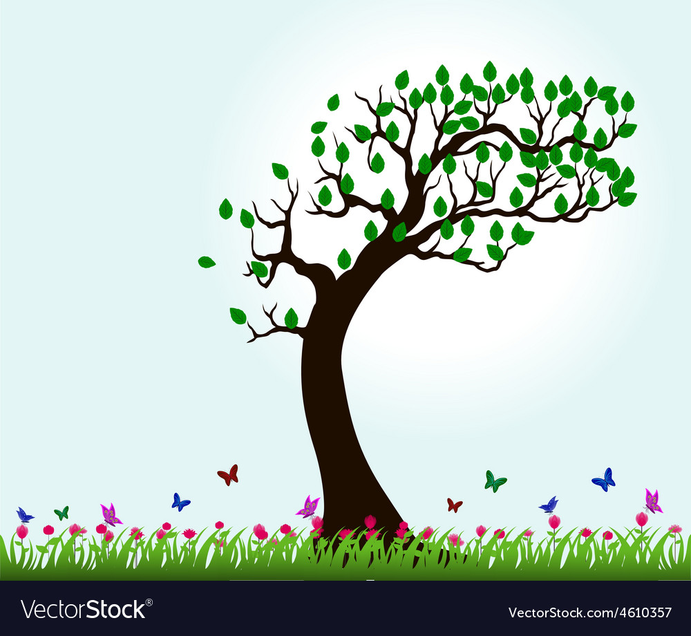 Silhouettes of trees and butterflies flying in the vector image