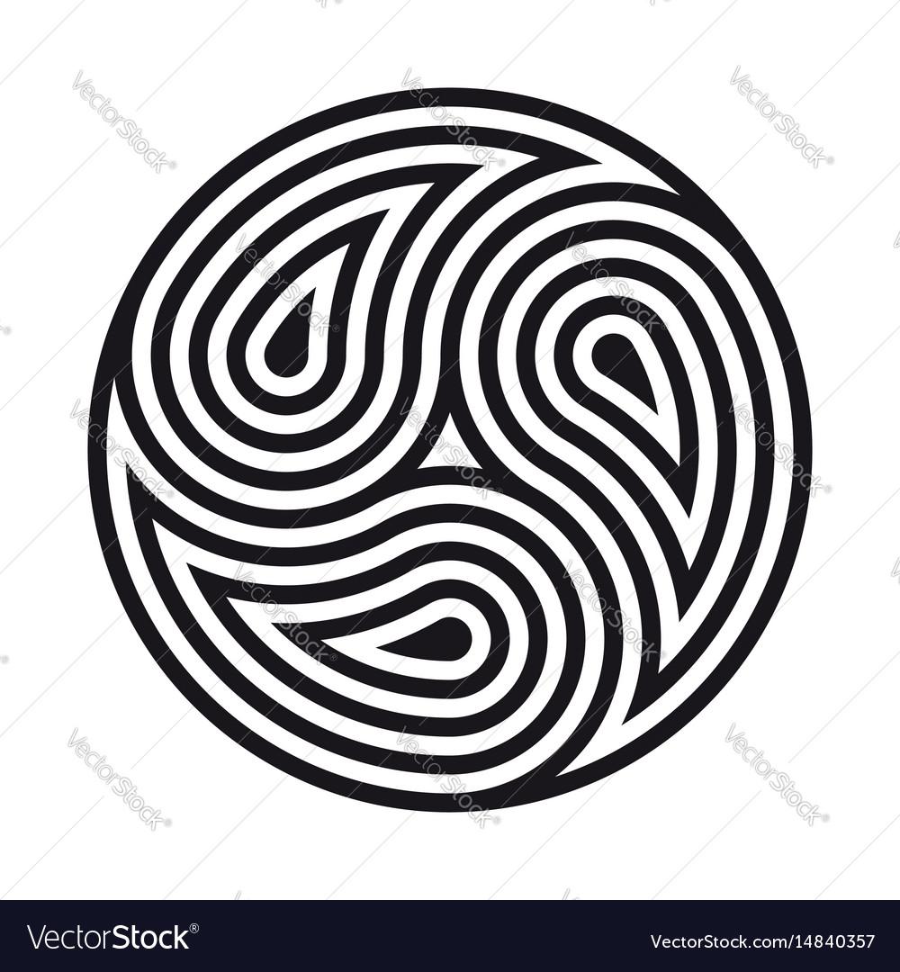 Triskelion symbol tattoo geometric circular