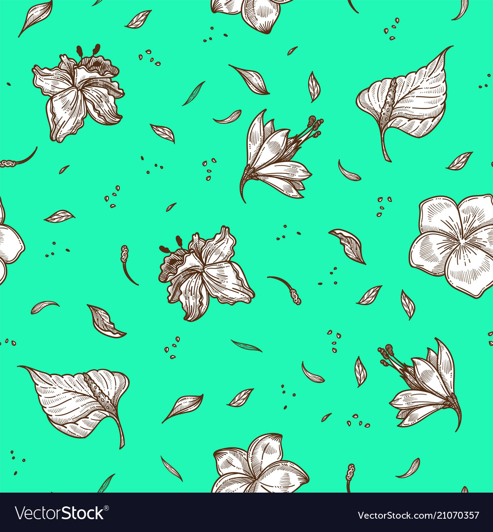 Tropical flower and leaf seamless pattern