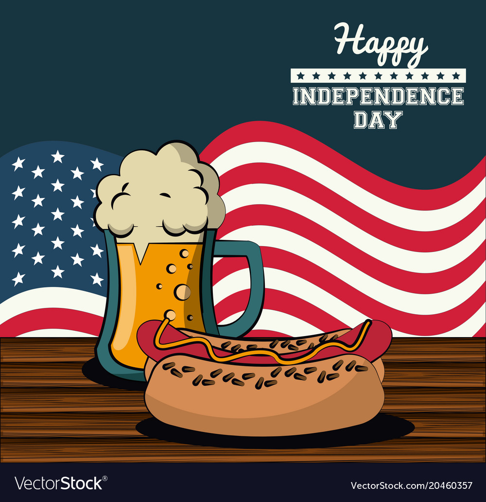 Usa independence day card with fast food