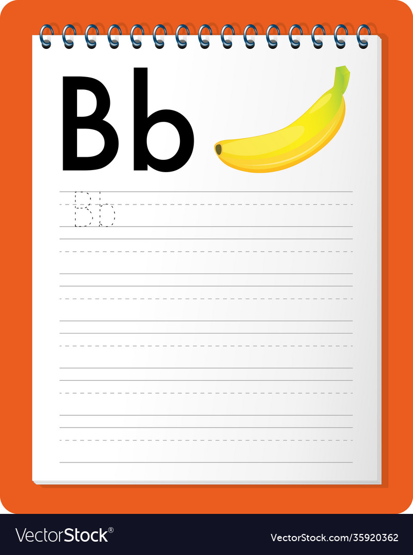 Alphabet tracing worksheet with letter b and b