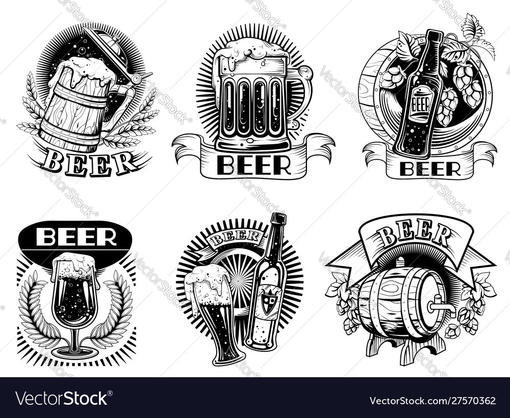 Beer icons or badges with foaming alcohol drink