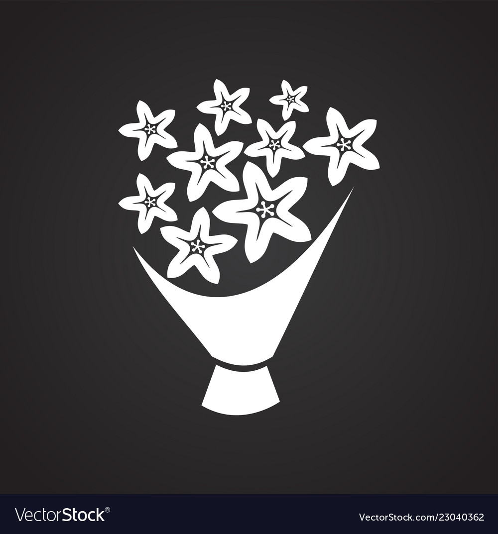 Bridal bouquet icon on black background for