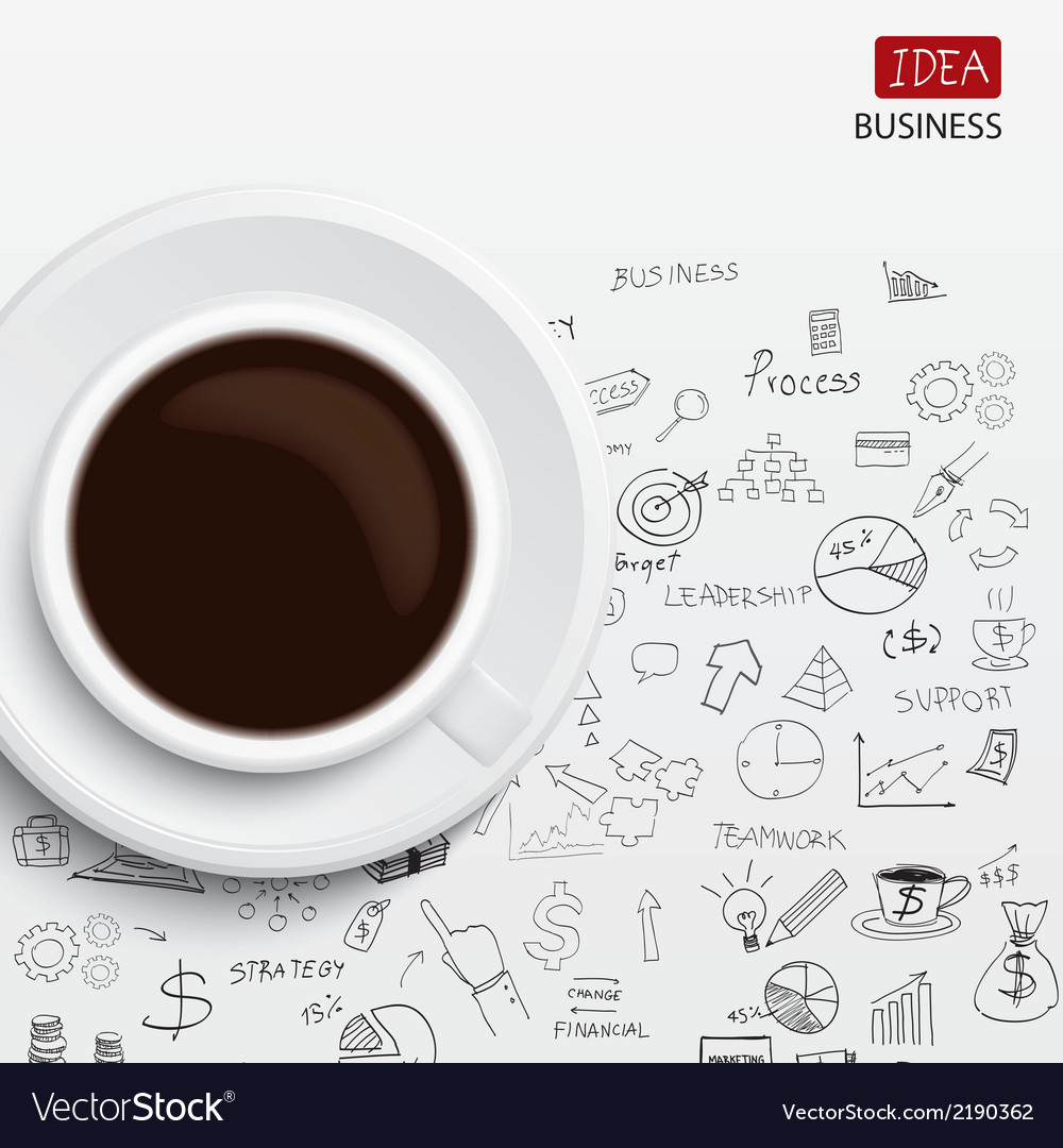 Coffee cup and business strategy Business plan Ide