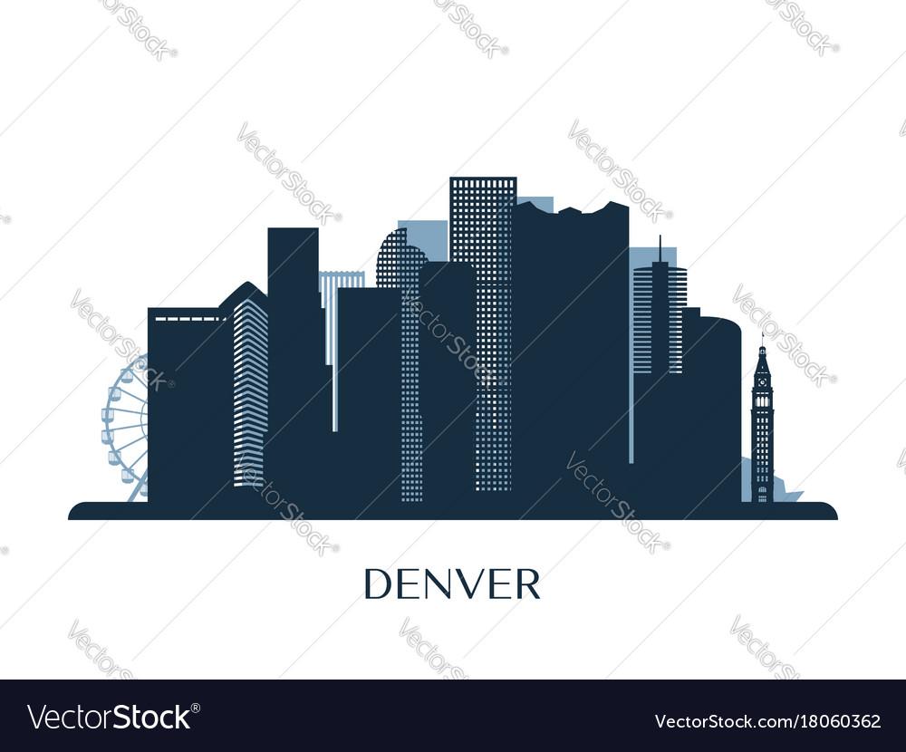 Denver skyline monochrome silhouette