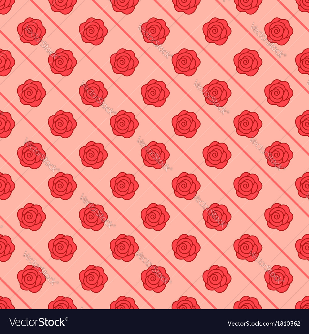 Floral seamless pattern with repeating rose vector image