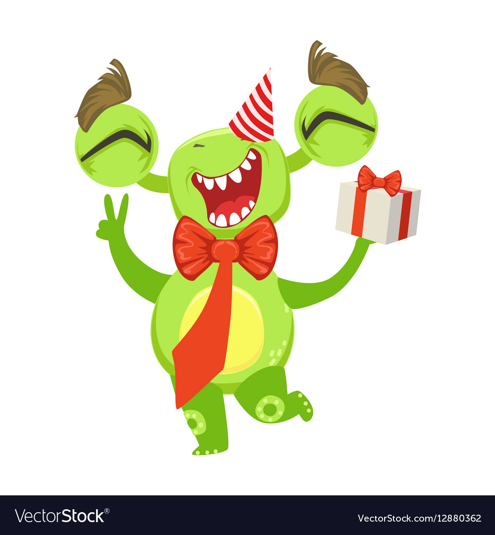 Funny Monster At Birthday Party With Bow Tie And vector image