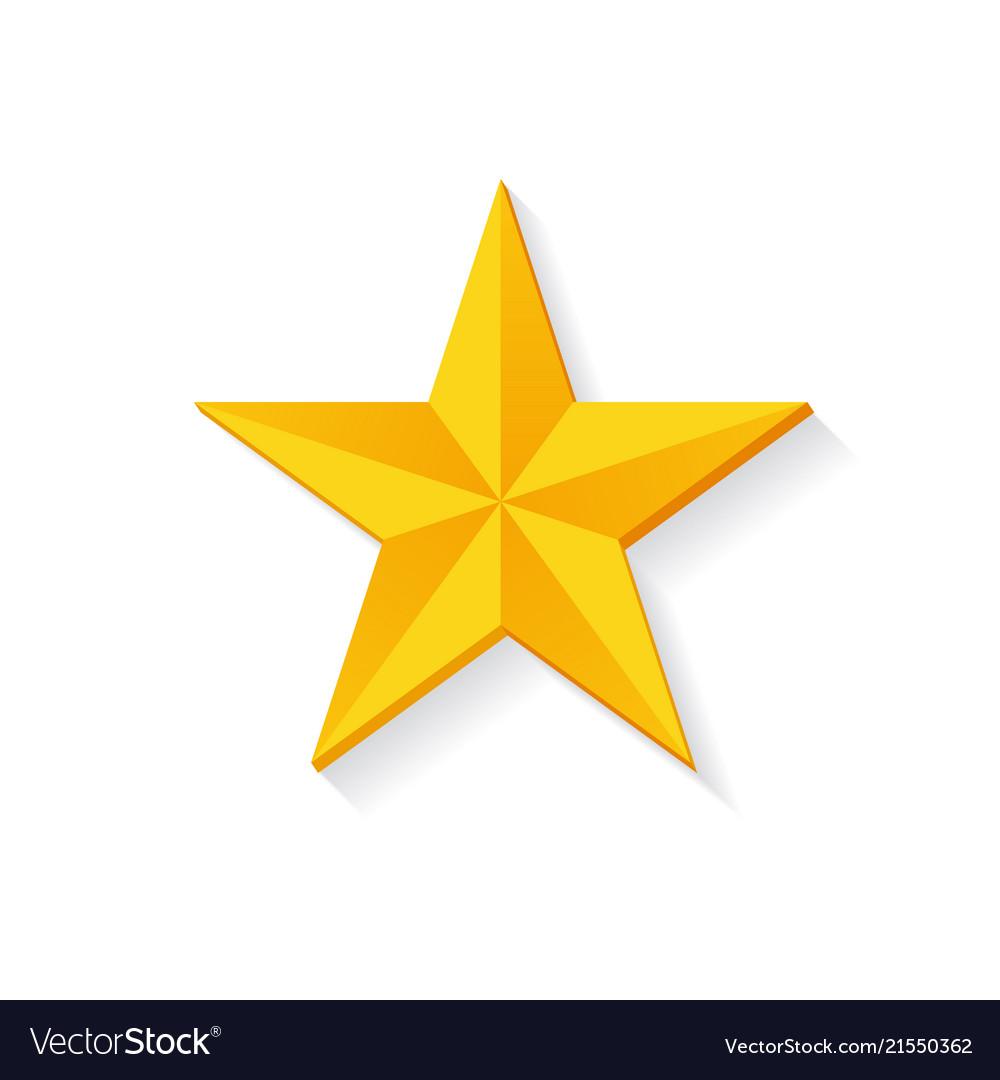 Golden star 3d design isolated