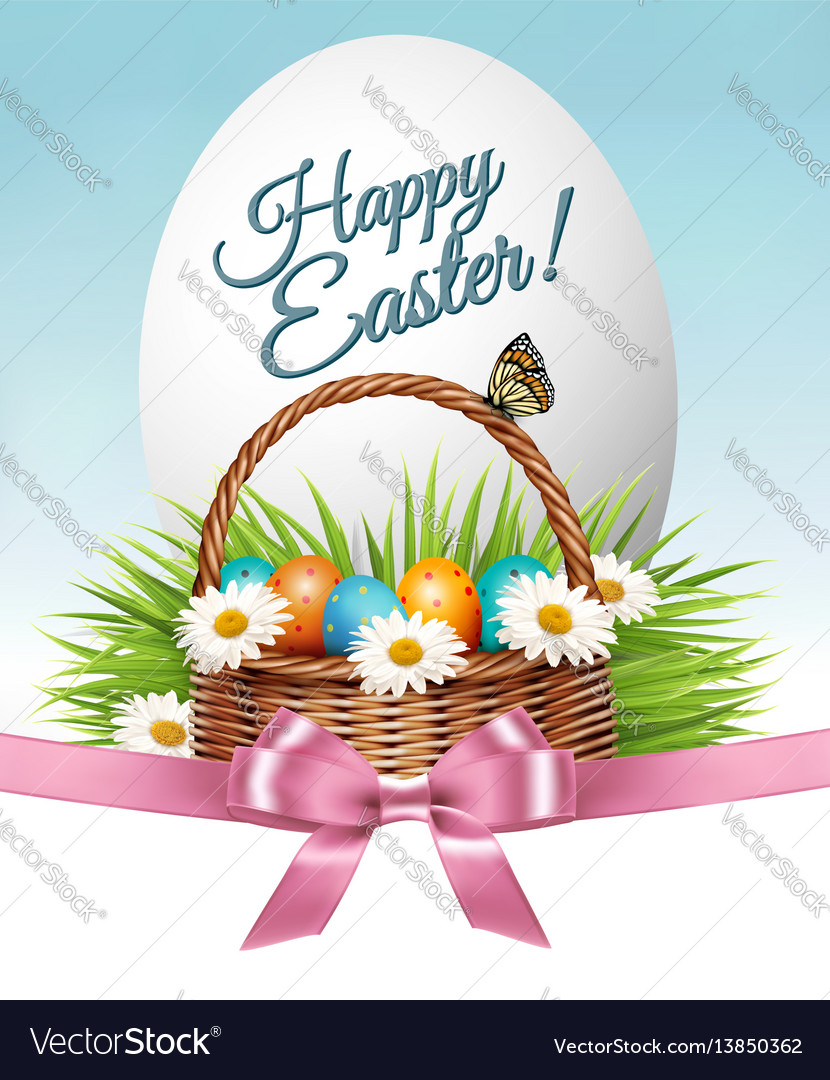 Happy easter background colorful eggs and basket