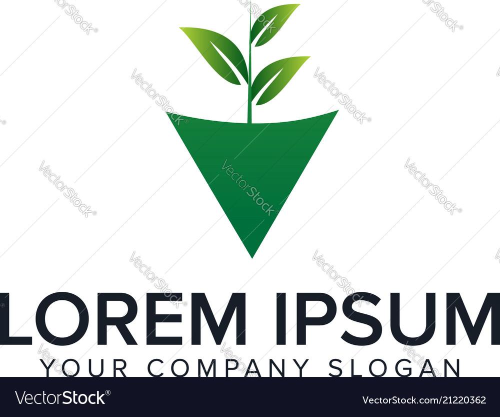 Natural leaf logo gardening design concept