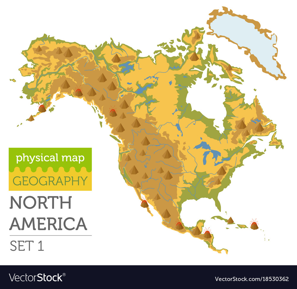 North america physical map elements build your Vector Image