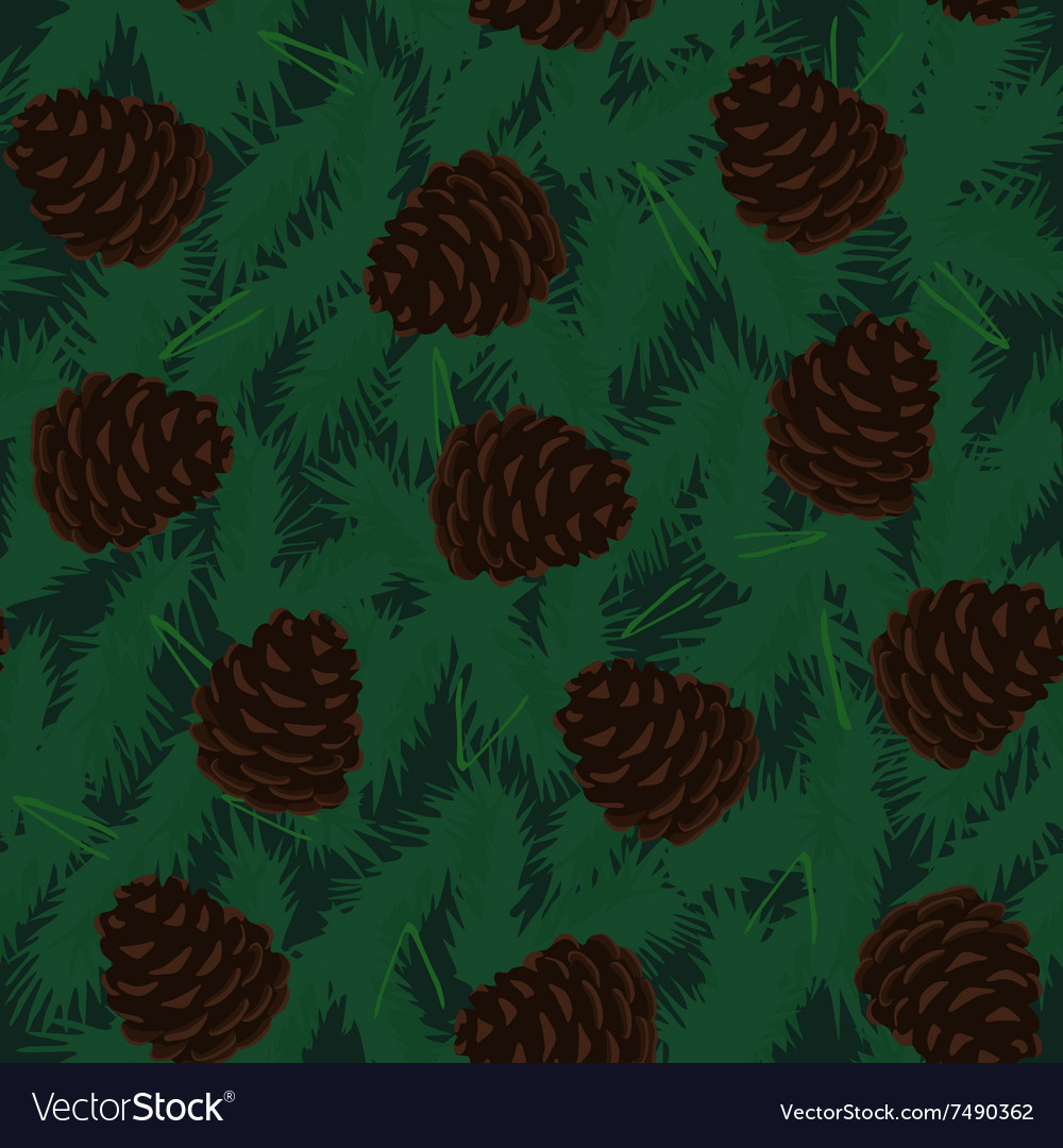 Pine Cones Seamless Pattern vector image