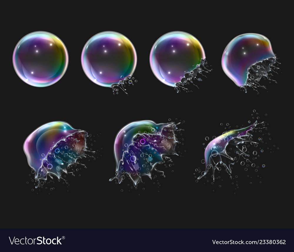 Realistic soap bubbles explosion stages