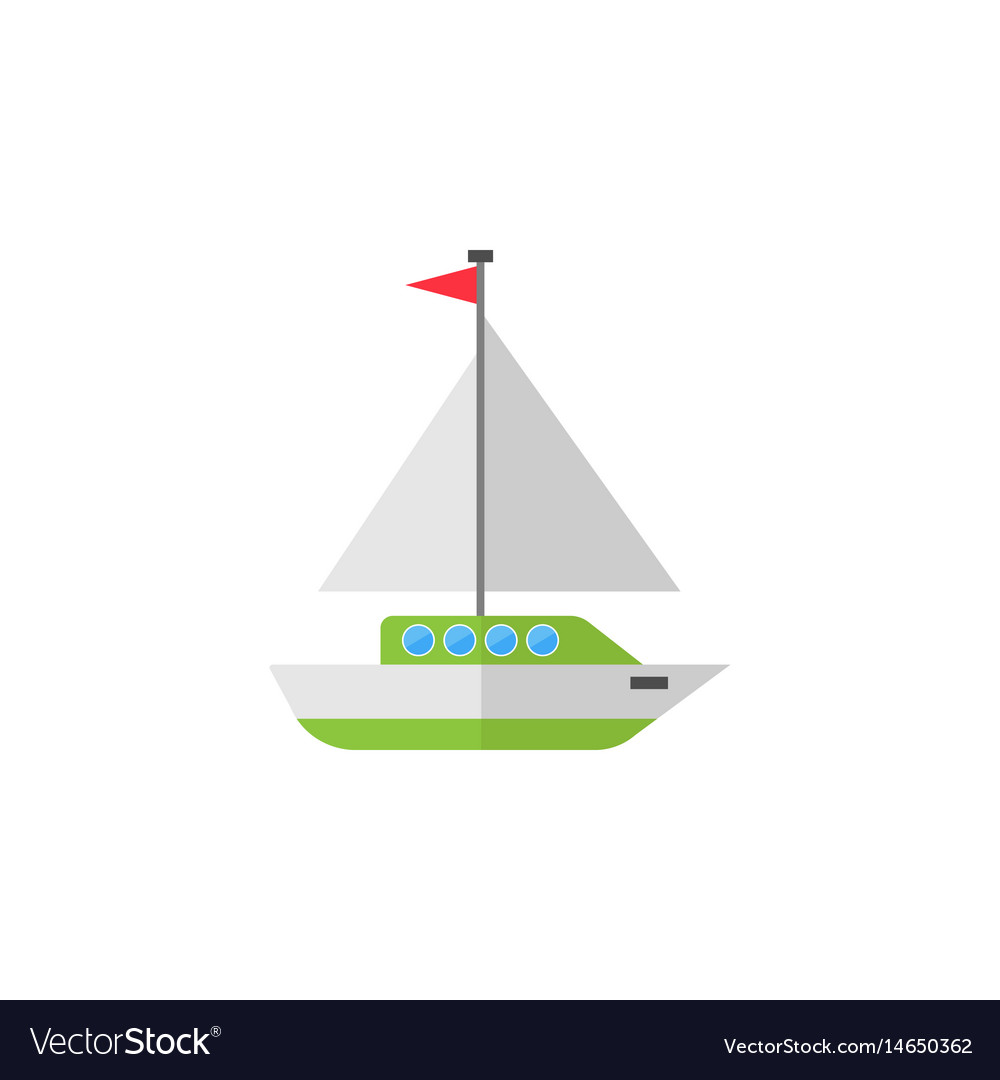 Sailing yacht flat icon travel tourism