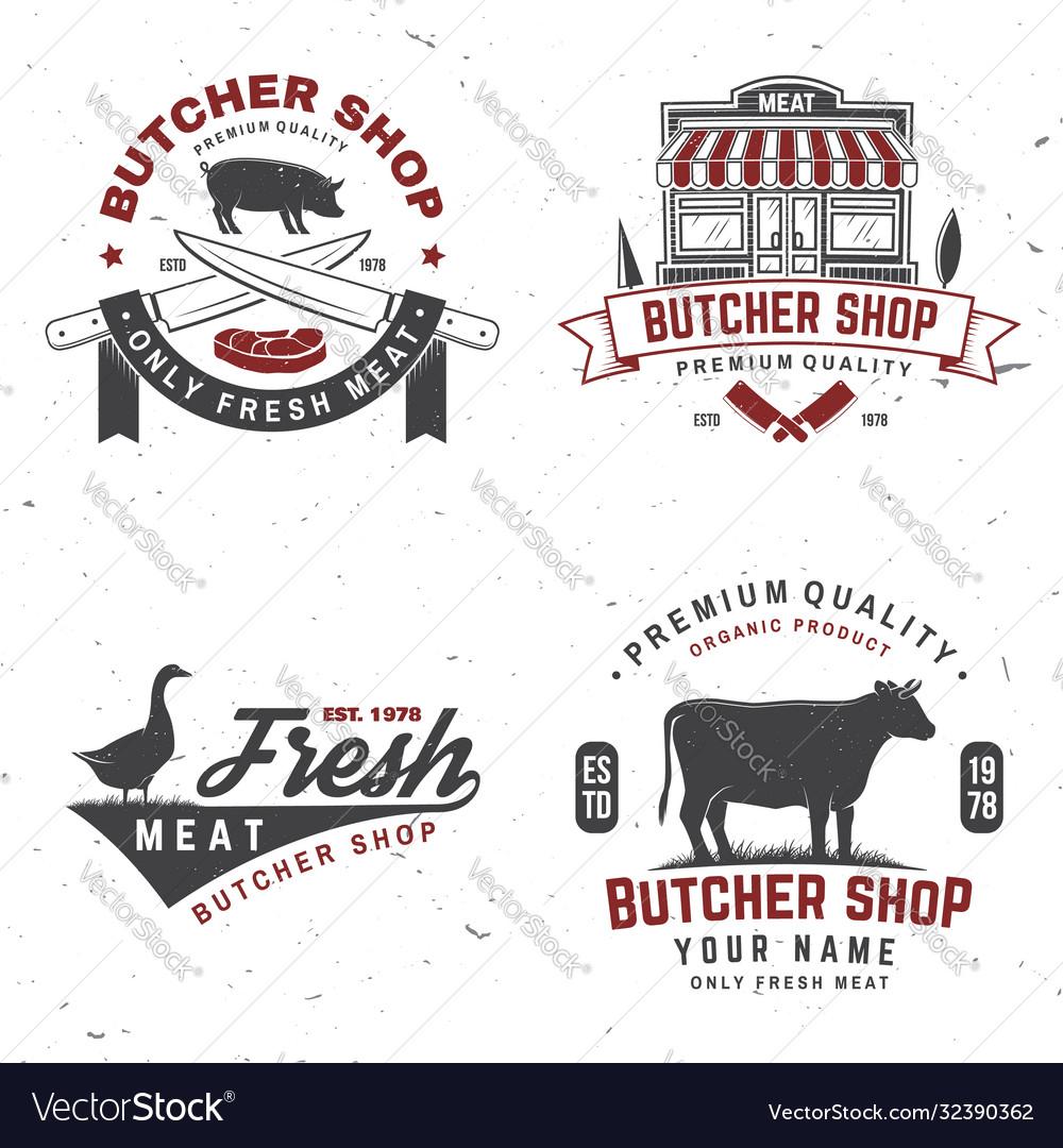 Set butcher shop badge or label with cow pig