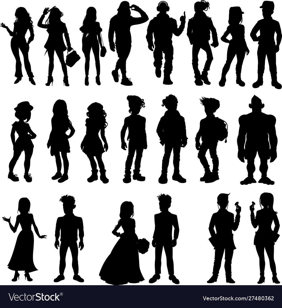 Silhouettes cartoon people