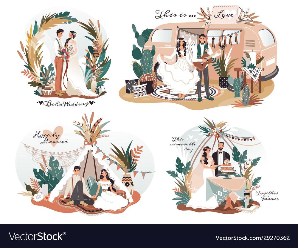 Wedding in boho style romantic couple cartoon