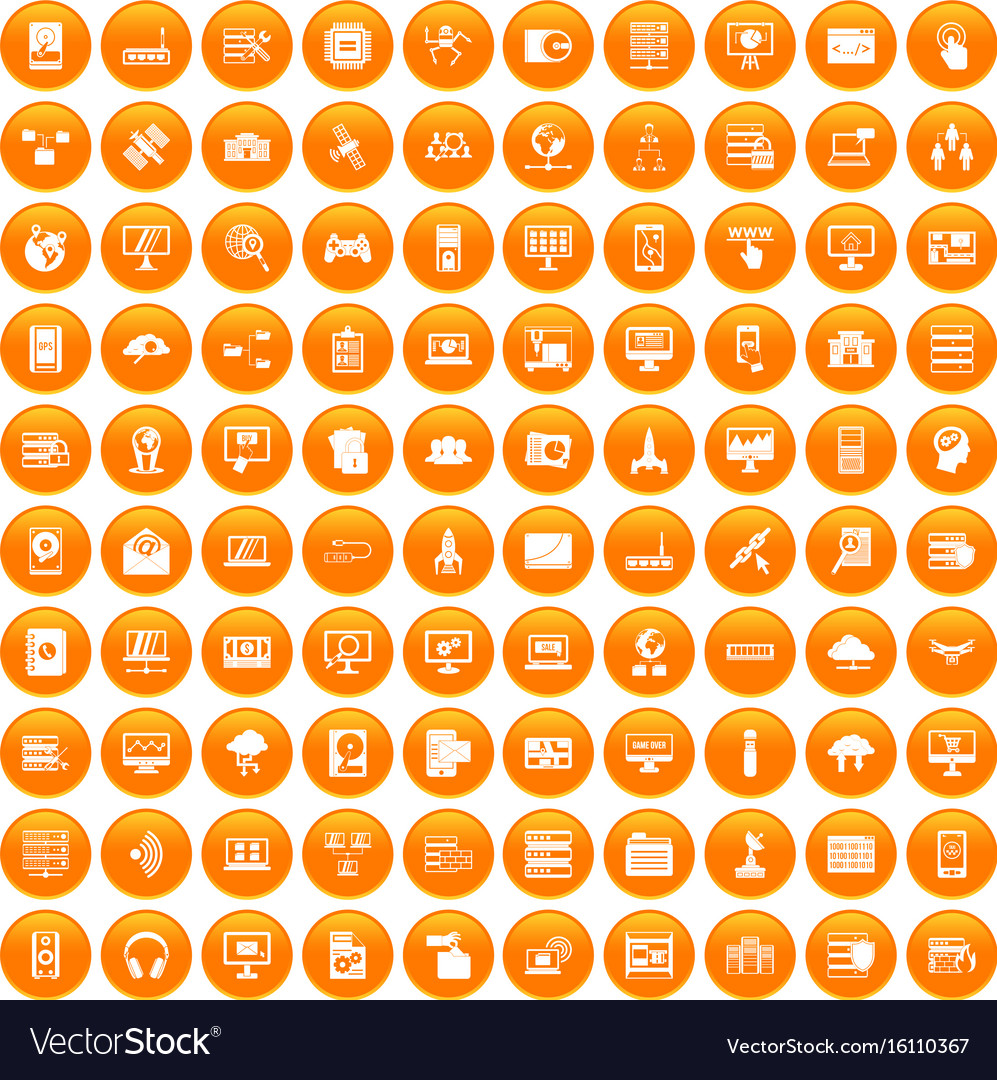 100 database and cloud icons set orange vector image
