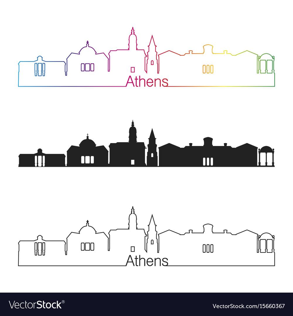 Athens ga skyline linear style with rainbow