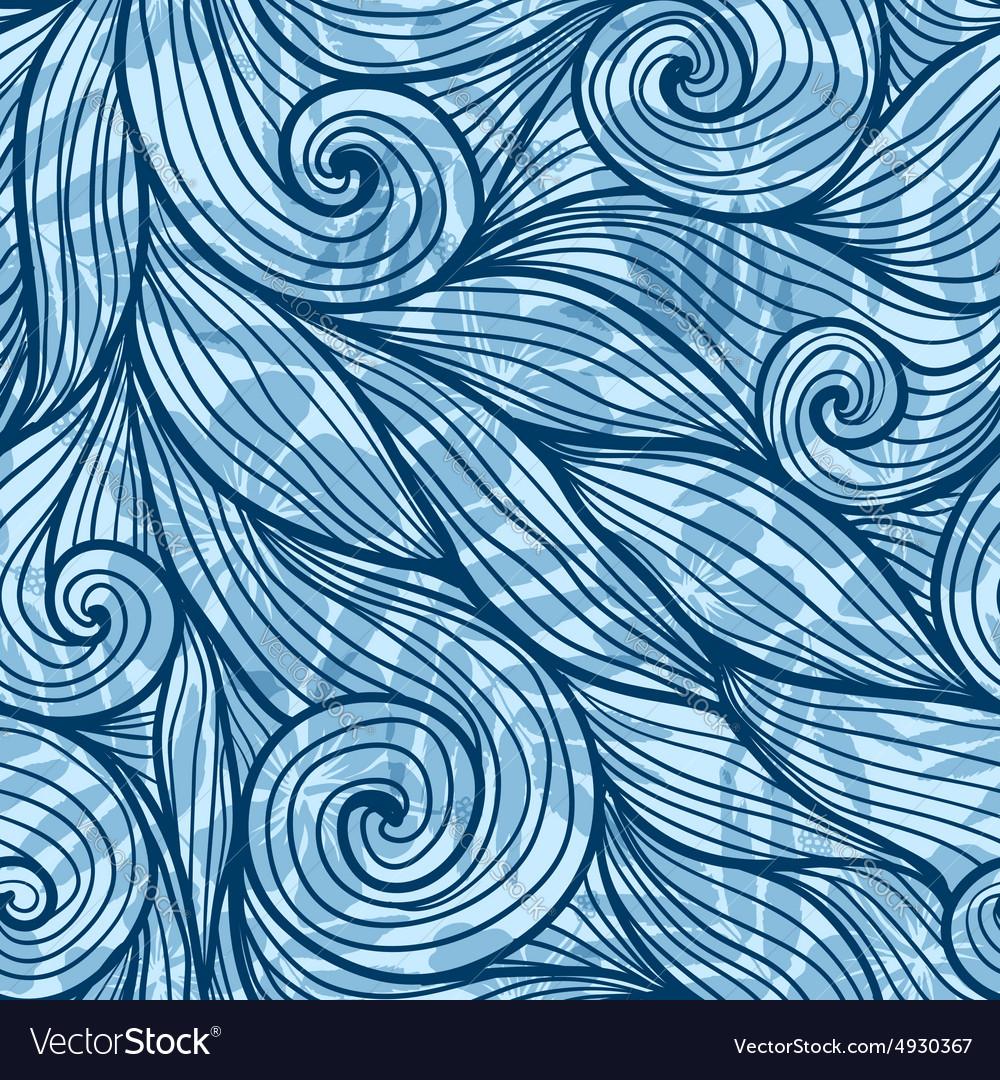 Blue hair curls waves seamless pattern