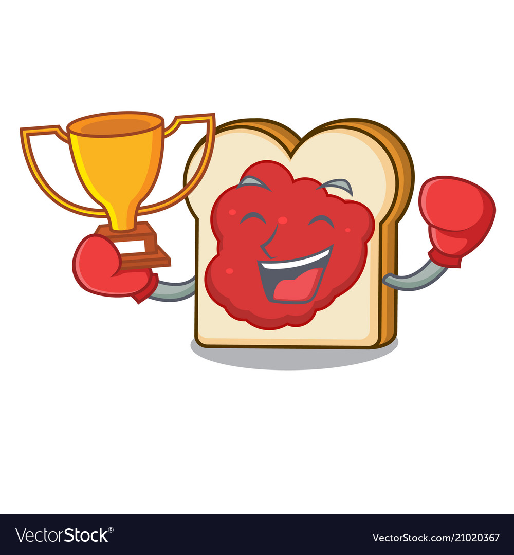 Boxing winner bread with jam mascot cartoon
