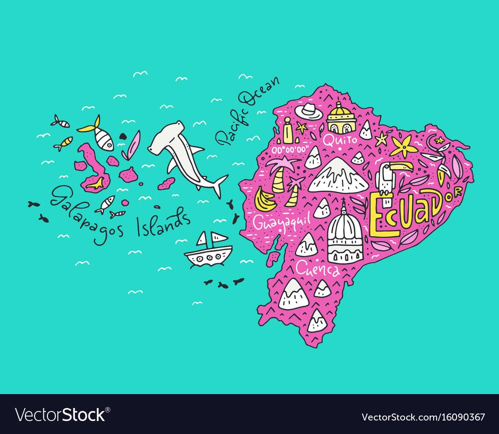 Cartoon map of ecuador Royalty Free Vector Image