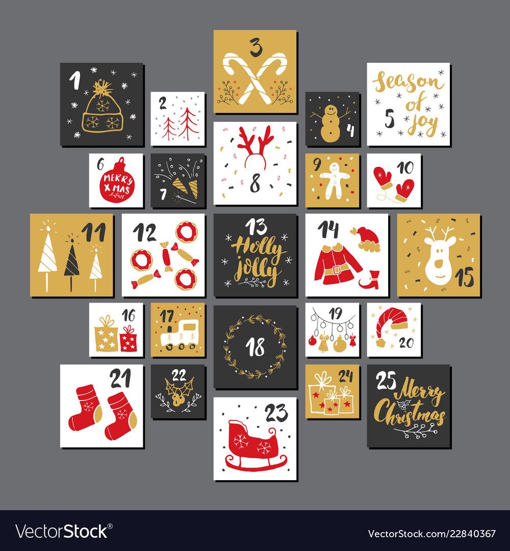 Christmas advent calendar hand drawn elements