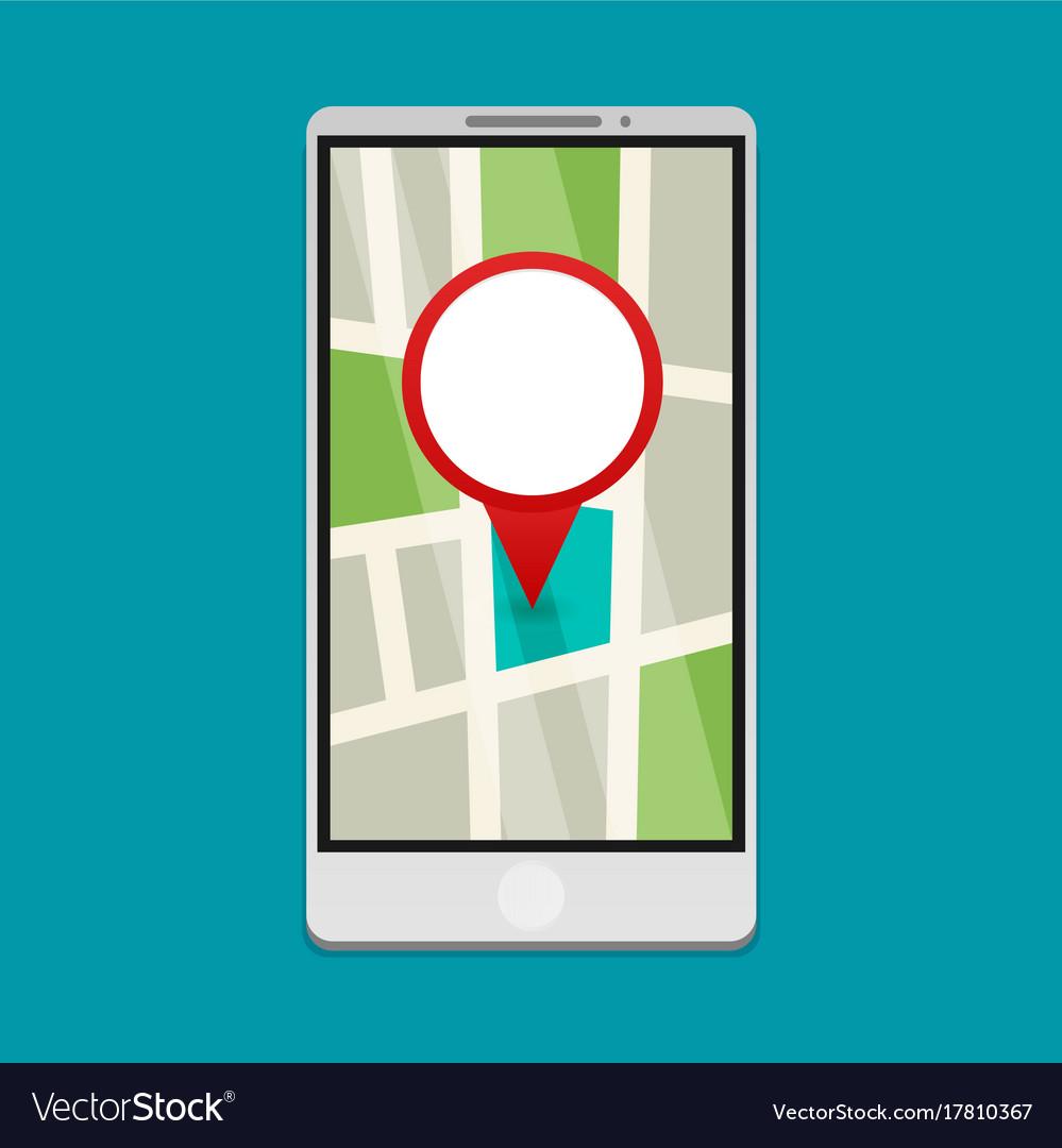 Flat gps navigation on phone vector image