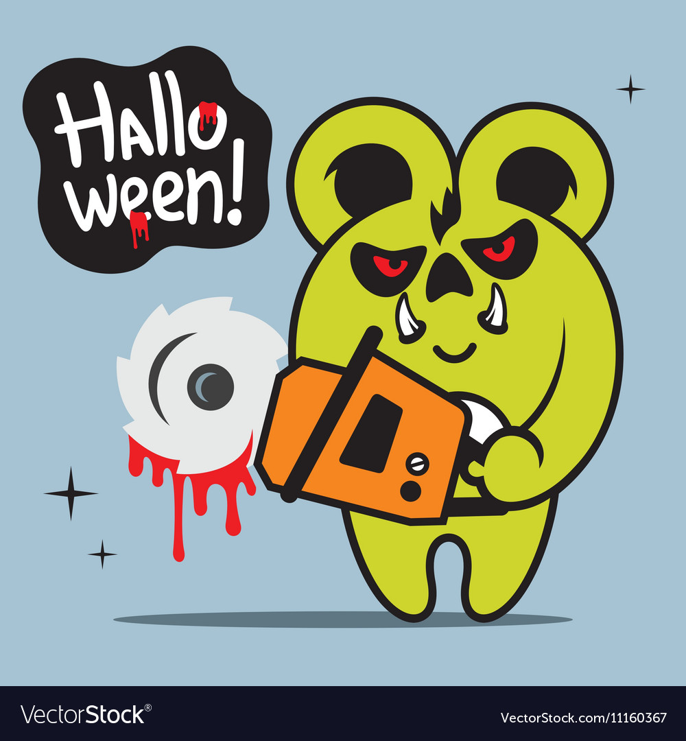 Halloween Crazy Bear Cartoon vector image