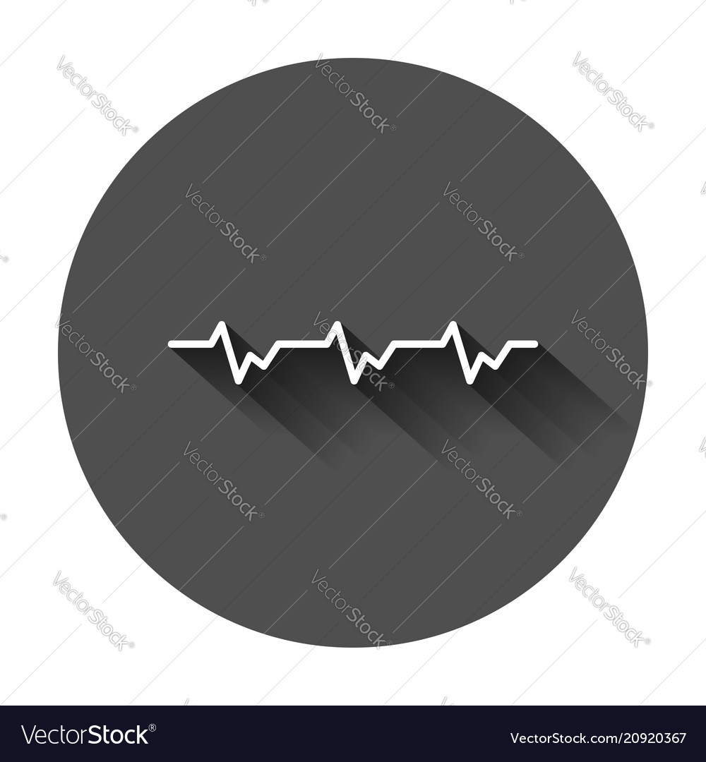 Heartbeat line with heart icon in flat style