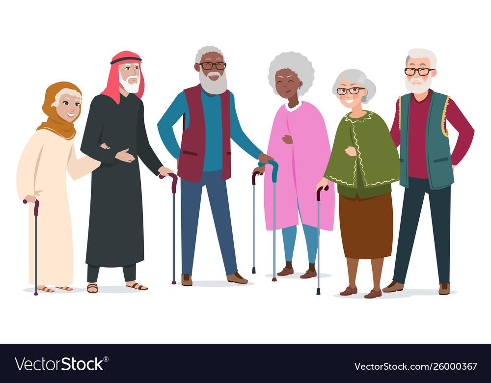 International happy old people elderly