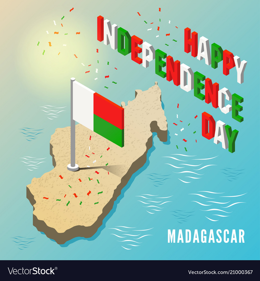 Madagascar map with flag in isometric style