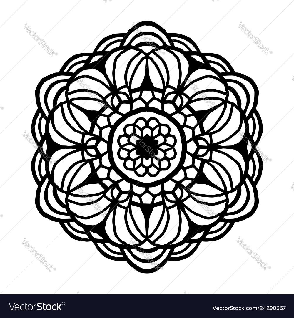 Mandala for coloring book unusual flower shape