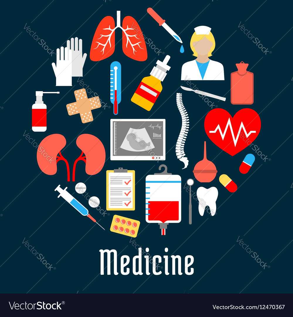 Medical and hospital icons in a shape of a circle vector image