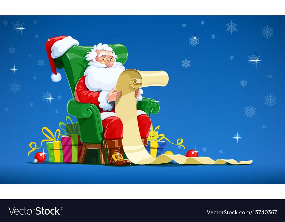 Santa claus sit in armchair vector image
