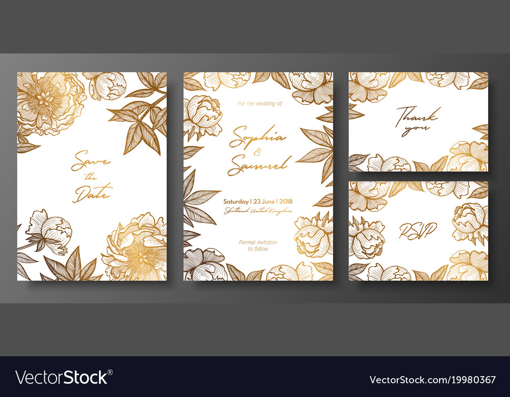 Set gold and white wedding cards with peonies