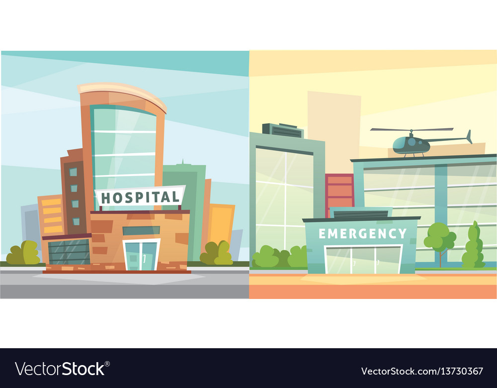 Set hospital building cartoon modern