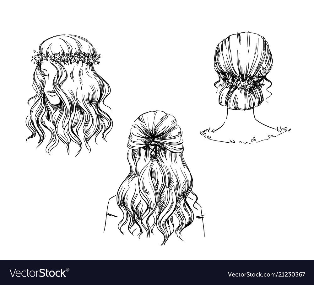 Set of hand drawn hairstyles sketch fashion vector image