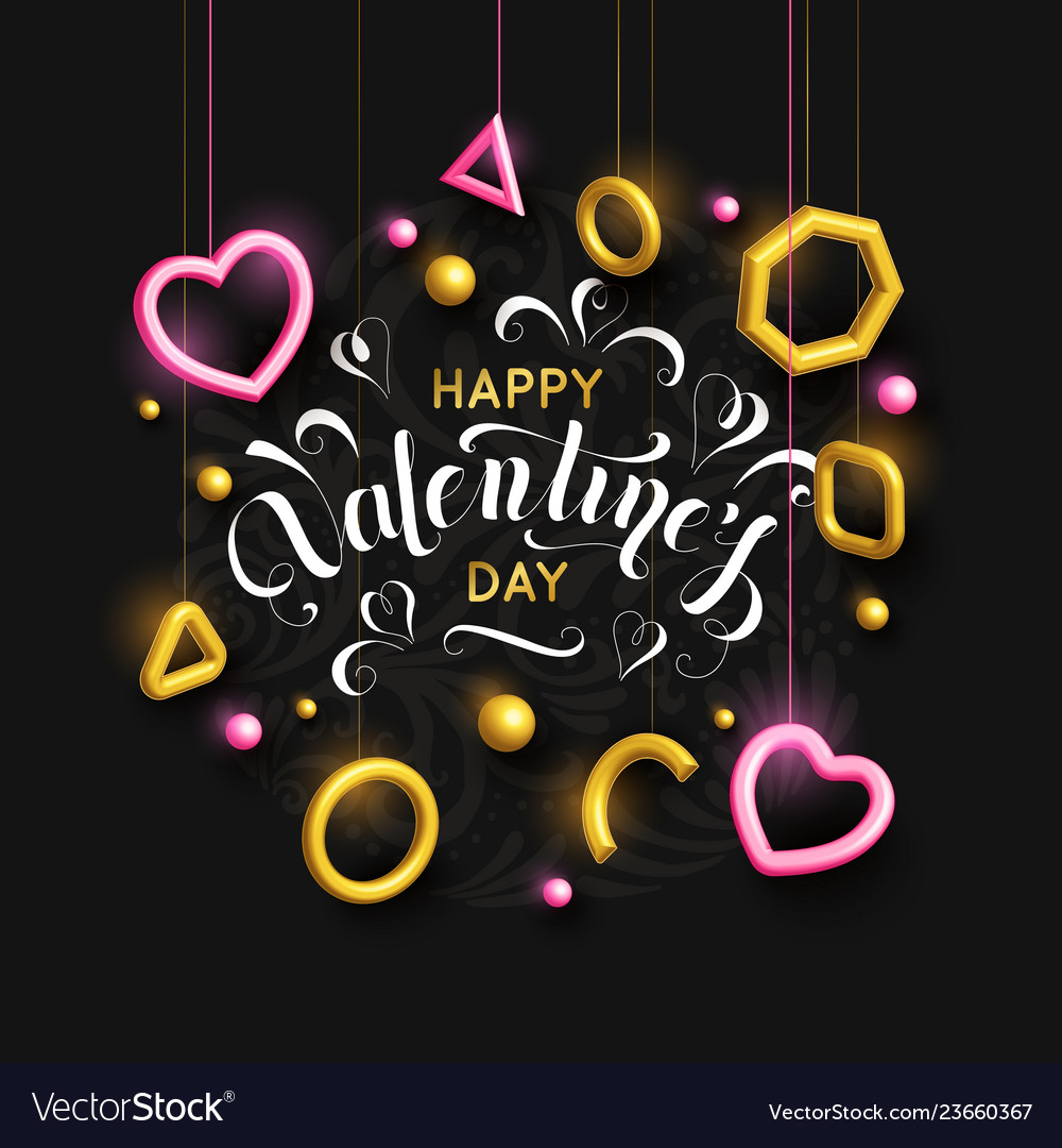 Valentines day background with pink hanging hearts