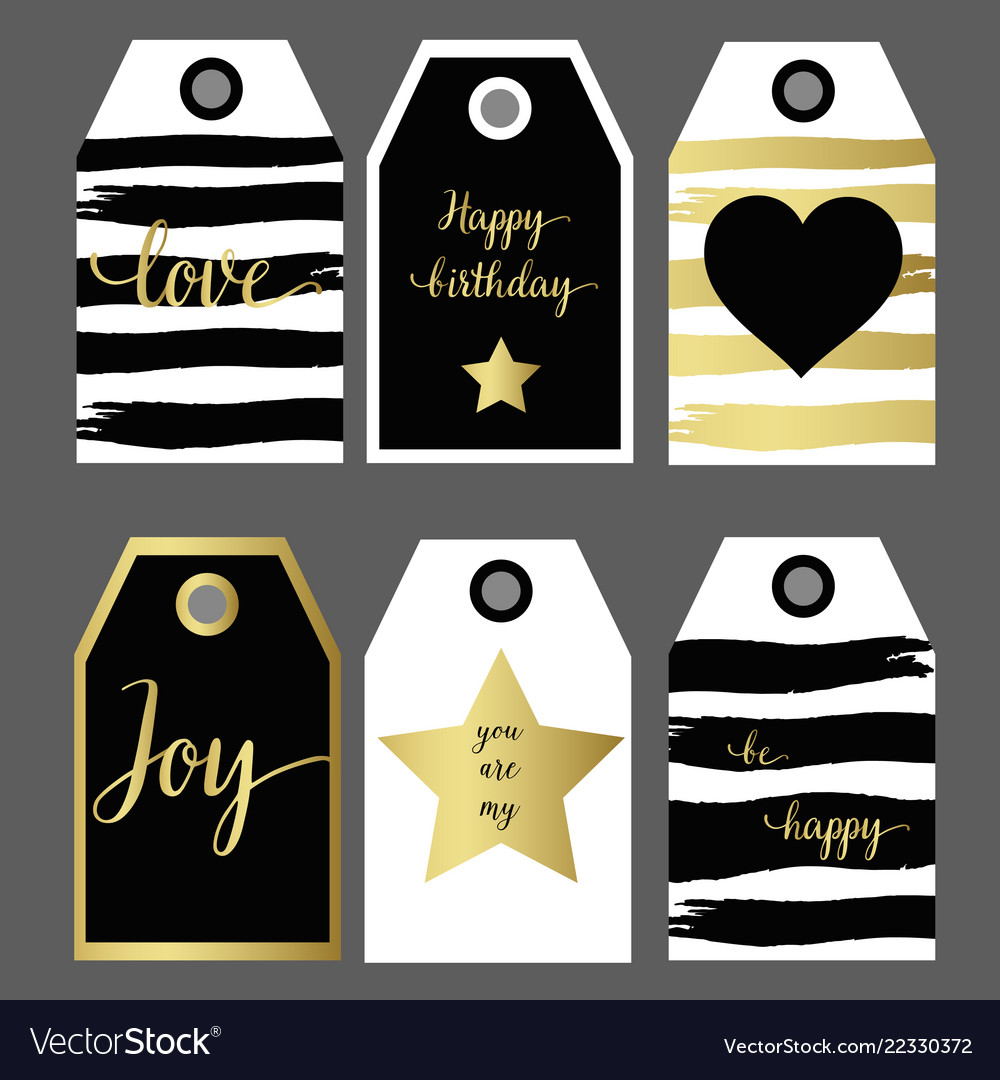 A set 6 design gift tag fashion design black and