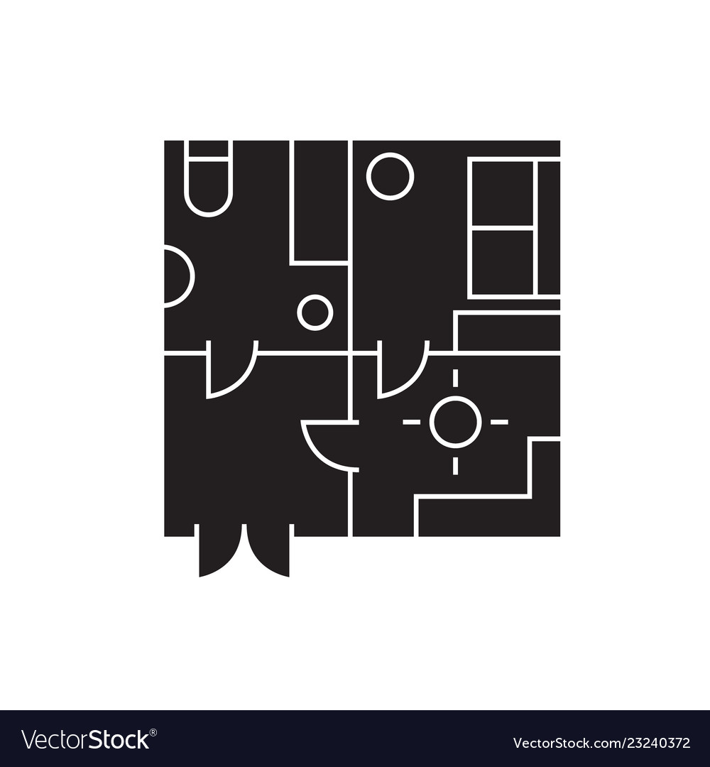Apartment plan black concept icon
