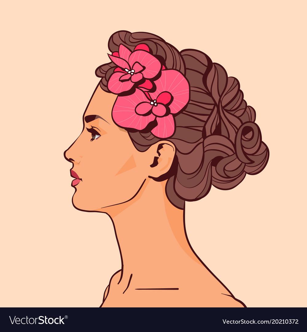Beautiful woman profile with flowers in elegant vector image izmirmasajfo