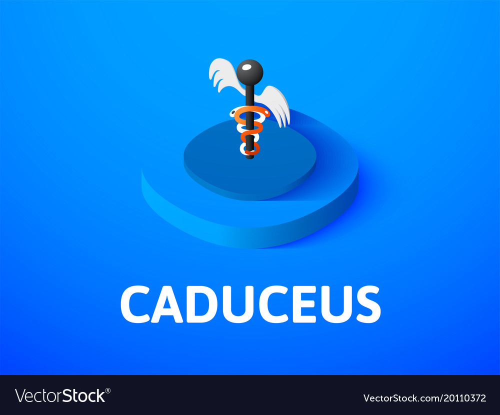 Caduceus isometric icon isolated on color