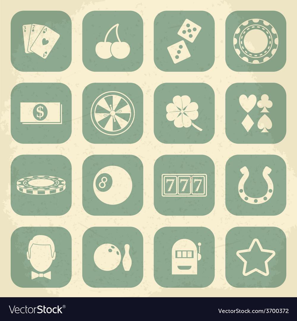 Casino retro icons set vector image