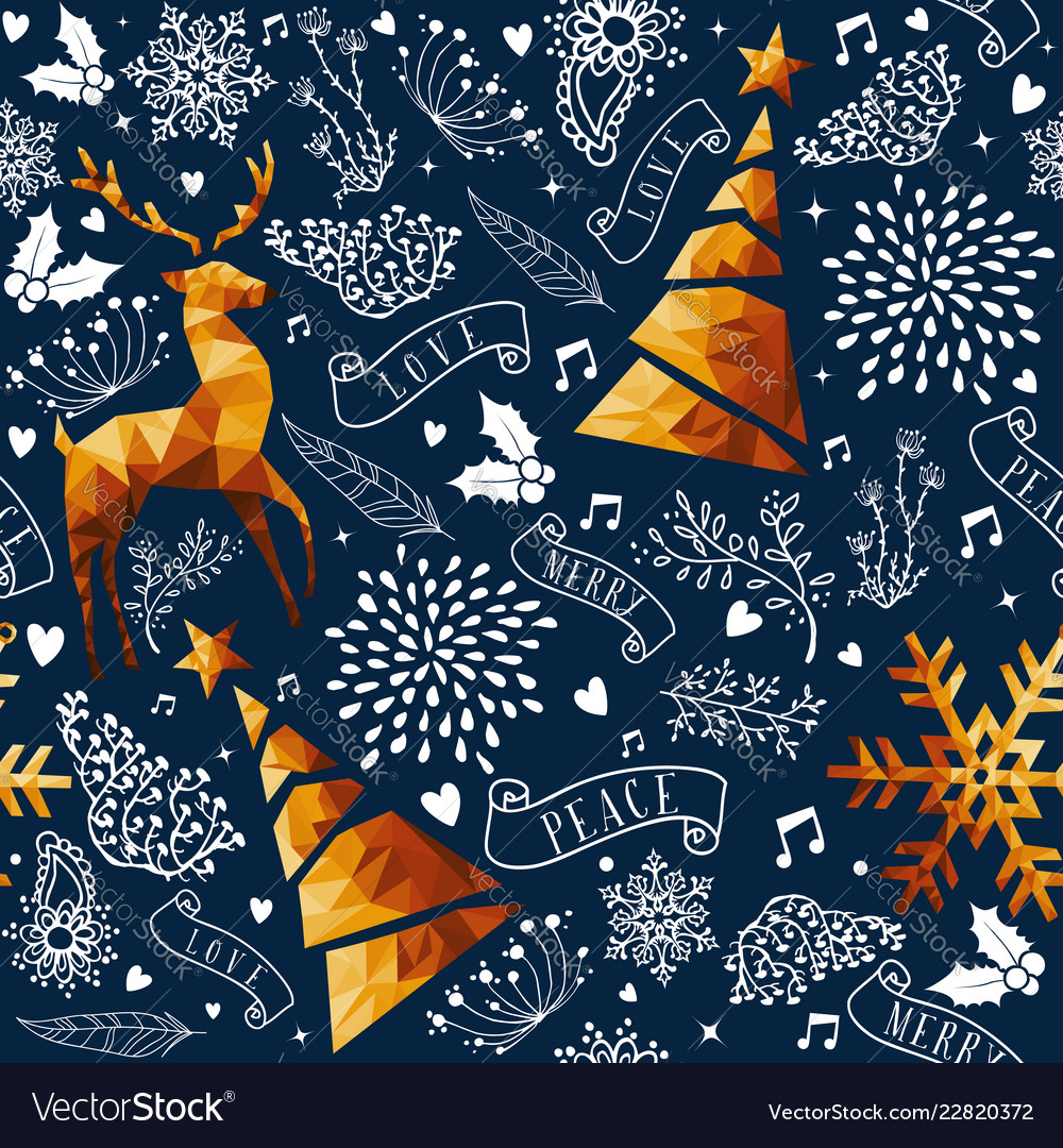 Christmas gold low poly ornament seamless pattern