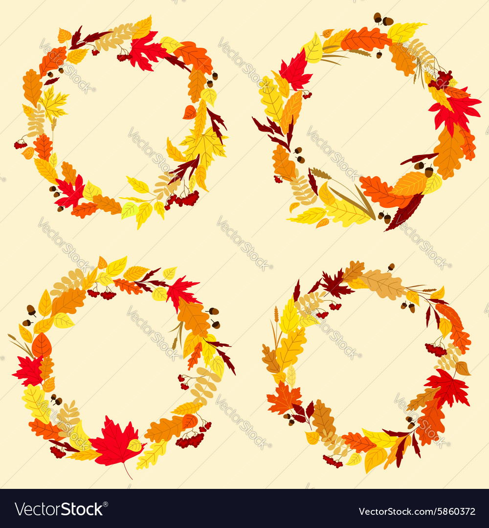 Colorful wreaths of autumn leaves